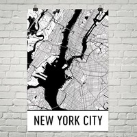 New York City NY Street Map Poster