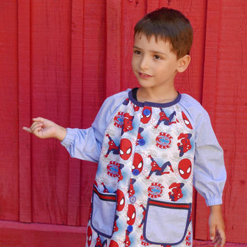 School smock PDF Pattern sizes 6m - 8 years mod. Raglan  INSTANT DOWNLOAD, kids art smock, Children Painting Overall