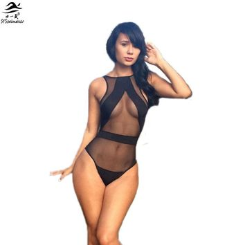 Black Temptation New Mesh Swimsuit Sheer One Pieces Swimsuit Women Sexy See Through Swimwear Monokini Bathing Suit