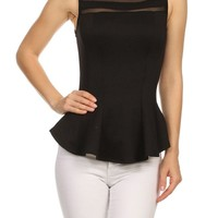 Solid Mesh Slim Fit Sleeveless Peplum Flare Tank Top Pleated Hem Blouse