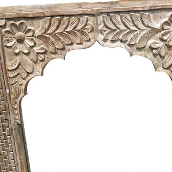India Archway Carved Architectural Antique Carved Arch Room Divider Rustic Furniture