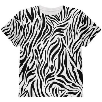 CREYCY8 Zebra Pattern Costume White All Over Youth T Shirt