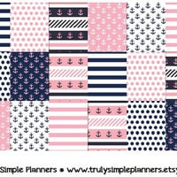 Printable Nautical Weekly Squares For Erin Condren Life Planner * PDF Instant Download