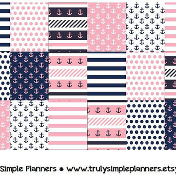 printable nautical weekly squares for erin condren life planner pdf instant download