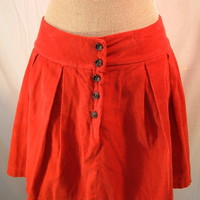 Zara Skirt Red Pleated Corduroy Mini sz u.s. 8 Trf collection