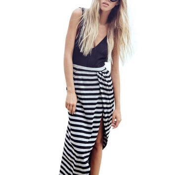 Fashion Women Sexy Casual Sleeveless Leakage Backless Deep V-collar Striped Soft Cotton Black Dress robes femmes en soldes #LSN