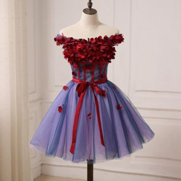 A-line Short Evening Dresses Off the shoulder Sleeveless Handmade Flowers Top Short Party Prom Gowns Tulle Dress