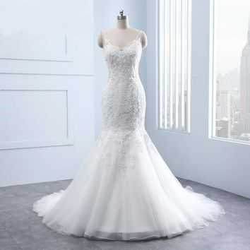 Elegant V-neck Backless Appliques Lace Pearls Mermaid Wedding Dresses real White Bridal Gown