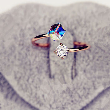 Modern Ring Design in Crystal and Rhinestone
