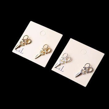 New Arrival small Simple Gold and SIlver plated scissor Stud earrings for women Fancy Jewelry C1 C2