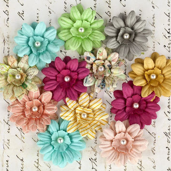 Prima Flowers Divine Flower Daisies 565244 Mulberry Paper Embellishments Patterned Flowers scrapbooking pink yellow grey aqua green