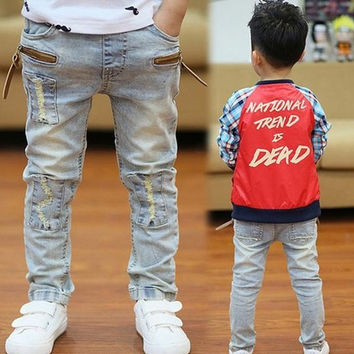 new arrival spring autumn 2015 children kids boys  teenage designer denim jeans pants trouser retail = 1930133060