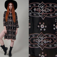 vintage 70s dress vintage 1970s black bohemian embroidered dress with mirror sequin detailing black boho goth sheer hippie dress/cover up