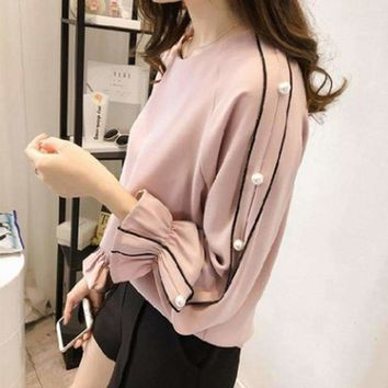 Womens Round-Neck Beading Shirts Blouse