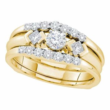 14kt Yellow Gold Women's Round Diamond 3-Stone Bridal Wedding Engagement Ring Band Set 3-4 Cttw - FREE Shipping (US/CAN)