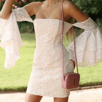 New Beige Patchwork Lace Off Shoulder Cascading Ruffle Bell Sleeve Backless Bodycon Party Mini Dress