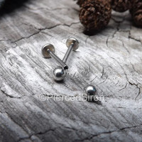 """Lip ring 14g 1/2"""" flat back labret earlobe straight piercing barbell internally threaded quality stainless steel silver piercing barbell one"""
