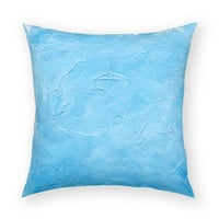 "Solid Blue 18""x18"" Artistic Throw Pillow"