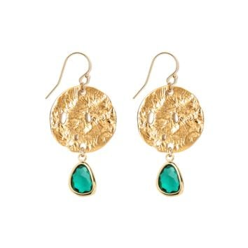 Tess and Tricia Lyra Emerald Green Disc + Gem Drop Earring
