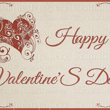 Happy valentines day card, image instant download with red hearts print, diy gift for boyfriend, girlfriend, romantic postcard, true love.