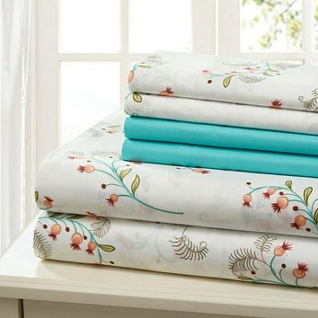 6 PIECE COTTON PERCALE BED SHEET SET