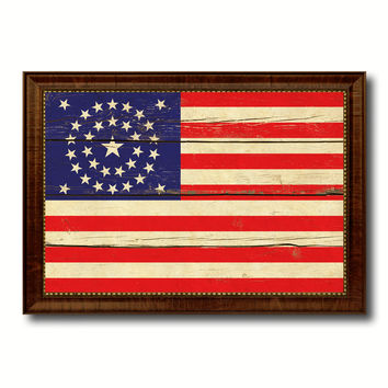 Civil War 34 Stars Military Flag Vintage Canvas Print with Brown Picture Frame Gifts Ideas Home Decor Wall Art Decoration