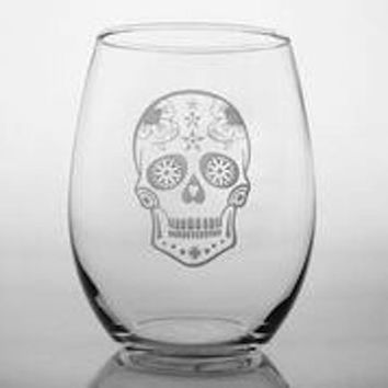4 Skull Etched Wine Tumblers