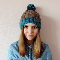 Brown and Teal Pom Pom Beanie, Brown Pom Pom Hat, Unisex Beanie, Pom Pom Hat