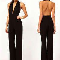 Black Backless Halter Jumpsuit