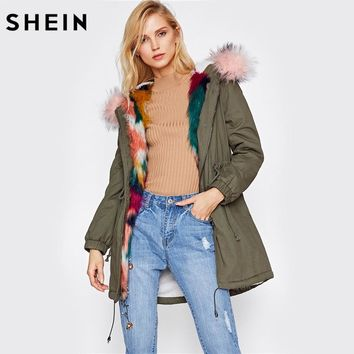 SHEIN Faux Fur Trim Split Back Parka Coat Winter Coats for Women Green Single Breasted Long Sleeve Hooded Parka
