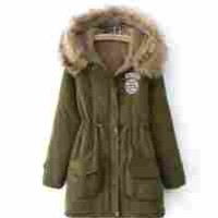 Spring Fever Womens Winter Hooded Fur Collar Outerwear Jacket(Hooded Jacket Army Green,S)