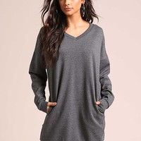 Grey Pullover Pocket Sweater Shift Dress