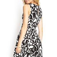 Abstract Print Pleated Dress