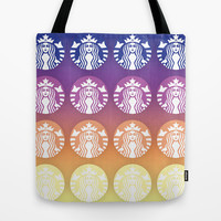 Sunset Gradient Starbucks Logo Tote Bag by KJ53321 | Society6