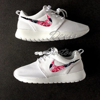 Nike Roshe Run One White Custom Pink Black Floral Print
