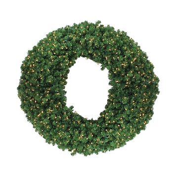 "60"" Pre-Lit Olympia Pine Artificial Commercial Christmas Wreath - Clear Lights"