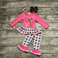new girls football outfit clothing baby girls love football clothes girls fall boutique outfits hot pink top with accessories