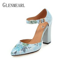 Women Pumps High Heels Woman Shoes Brand Spring Pointed Toe Ankle Strap Pumps Flower Thick Heel Wedding Shoes Plus Size 45