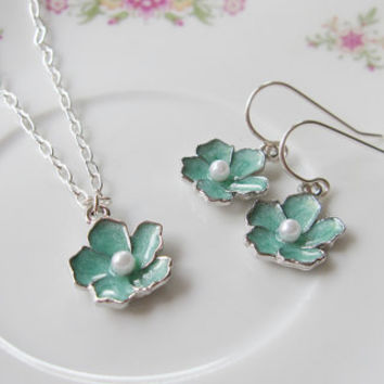 Bridesmaid Jewelry - Necklace Earring Set - Teal and Silver Enamel Flower Charm - Summer Wedding