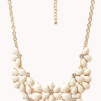 FOREVER 21 Subtle Glam Cluster Necklace Ivory/Gold One