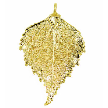 Real Leaf PENDANT BIRCH Dipped in 24K Yellow Gold Genuine Leaf