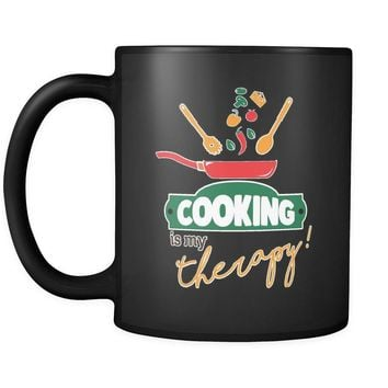 Funny Cook Chef Mug Cooking Is My Therapy 11oz Black Coffee Mugs