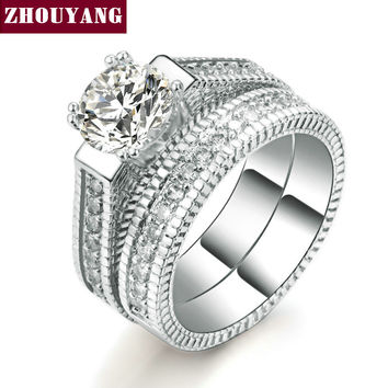 18K White Gold Plated Luxury 2 Rounds Bijoux Fashion Wedding Ring Set  Diamond Jewelry For Women