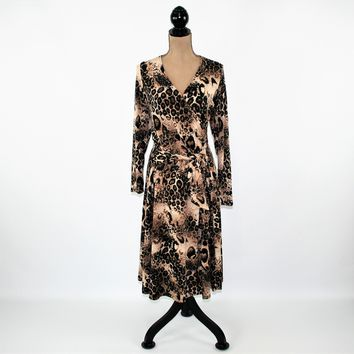 90s Long Sleeve Knit Dress Women XL Brown Animal Print Dress Midi Cheetah Leopard Fit and Flare Dress Plus Size Vintage Clothing Women
