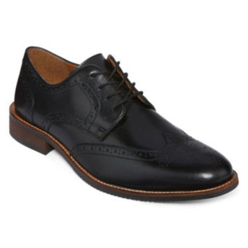 Stafford® Mason Mens Leather Wingtip Oxford Dress Shoes