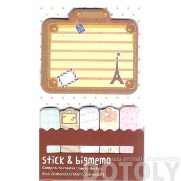 Large Eiffel Tower Suitcase Shaped Travel Themed Memo Pad Post-it Index Sticky Tabs
