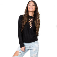 Fashion Autumn Winter Women Lace Up Knitted Sweaters Casual Solid Pullover Sexy V Neck Pull Sweaters Femme Basic Knitwear GV340