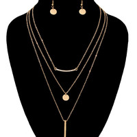 Layered Necklace & Earrings Jewelry Set