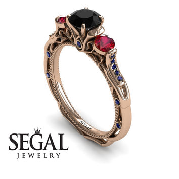 Unique Engagement Ring 14K Red Gold Art Deco Victorian Ring Edwardian Ring Black Diamond With Ruby - Elizabeth