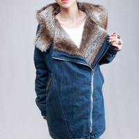 Fur Lined Hooded Dark Blue Coat [NCSOB0017] - ?124.09 :